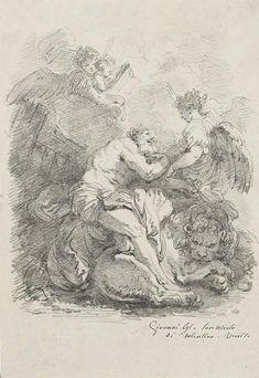 Jean-Honore Fragonard (1732-1806) The Vision of Saint Jerome, after Johann Liss (29 x 20 cm)
