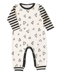 Look what I found on #zulily! Ivory & Black Triangle Stripe Playsuit - Infant #zulilyfinds