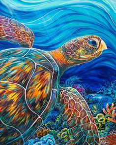 Beautiful Sea Turtles DIY Diamond Painting Cross Stitch Mosaic Painting Diamond Embroidery Home Decor or Gifts Sea Turtle Painting, Sea Turtle Art, Sea Turtles, Animal Paintings, Animal Drawings, Oil Paintings, Pop Art, Underwater Art, Hawaiian Art