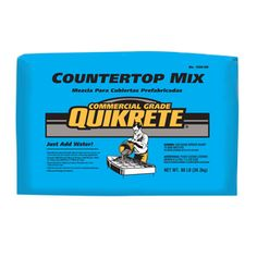 "Lowes has for $25.31/80lb (2.3 sq. ft. @ 2"" thick – 0.43 cu. ft. per http://concretecountertopsolutions.com/products/cement-products/white-countertop-mix/)"