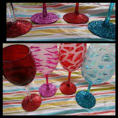 DIY glittered wine glasses for bridal shower Glitter Wine Glasses, Diy Wine Glasses, Decorated Wine Glasses, Painted Wine Glasses, Glitter Gifts, Cork Crafts, Diy Arts And Crafts, Mother's Day Gift Baskets, Wine Glass Charms