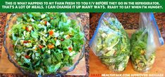 If you want to lose weight, subscribe to Farm Fresh to You and get organic produce delivered to your door. The secret is that as soon as you get your box start preparing the vegetable for easy cooking. It will take about one to three hours depending on how much you work on, but then the rest of the week's cooking is easy.  Here I made a huge salad and store in plastic bags.  When I get hungry, all I have to do is serve.  Can add so many things to this basic salad.  Meat, cheese, nuts…
