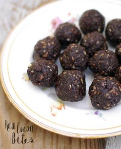 RAW COCOA BITES- 1 cup pitted dates, soaked for 10 minutes and drained  1/2 cup raw almonds  1/2 cup walnuts  1/4 cup dried unsweetened coconut  1/4 cup cocoa or cocao powder  1 tablespoon flax seed