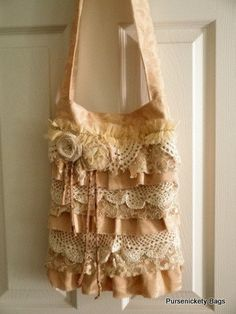 Gypsy Bag, large Shabby Chic bag, soft thick cream, lace and doilies on Etsy, $85.00