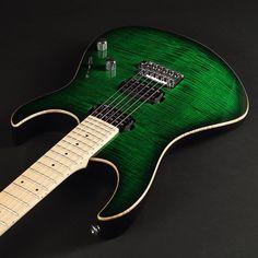 "Lepsky Guitars  F Model Custom CA Body: Alder, flat top Flame Maple Neck: Maple solid, Bolt-On Construction Thickness 1 fret 20mm, 12 fret 22 mm traditional onу way truss rod Scale: 25,5"" Fingerboard: no fingerboard , 24 @jescarmusic Silver Nickel Frets, radius 12"" Finish: gloss Hardware: chrome Bridge: Gotoh tremolo 510T-BS1 Tuners: Gotoh SG381-MG-T Lock Pickups: ARB T-34 / ARB Bluesbacker Controls: 1 volume, 1 tone, 5 way Super Switch"