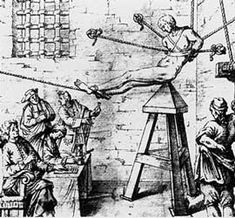 The Judas Cradle, a terrible medieval torture where the victim would be placed on top of a pyramid-like seat. The victim's feet were tied to each other in a way that moving one leg would force the other to move as well - increasing pain.
