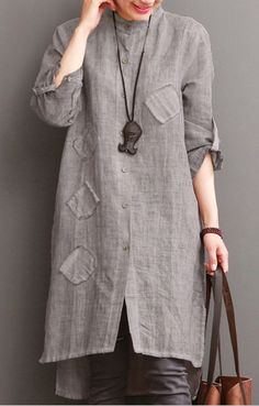 Gray cotton dress for summer pockets patchwork shirt sundress