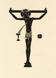 """""""Crucifix, Chalice & Host"""" by Eric Gill (1915).  Tate Collection.  Relief print on paper."""