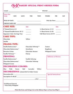 Home Bakery Cake order form Fresh Home Bakery Cake order form Beautiful 1000 Ideas About Cake Home Bakery Business, Baking Business, Cake Business, Catering Business, Business Tips, Cake Order Forms, Cake Pricing, Order Form Template, Cake Sizes