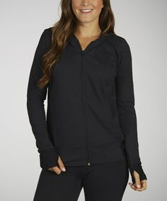 Take a look at this Black Artificial Reality Hoodie Jacket by Marika on #zulily today!