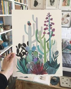 paint Storage And Organization apartment storage and organization Gouache Painting, Painting & Drawing, Watercolor Flowers, Watercolor Paintings, Watercolors, Cactus Art, Cactus Plants, Watercolor Illustration, Cactus Illustration