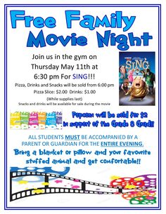 movie night flyer may 2017 - Subisim Pta School, Night School, School Fundraisers, School Events, School Ideas, School Auction, School Life, School Projects, Sunday School