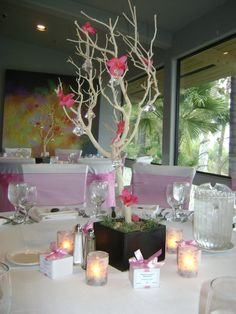 baptism reception table setting....really loving this tree/branch idea