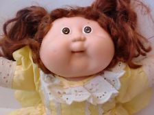 "Rare Vintage Coleco Cabbage Patch Kid Toddler Doll 16"" Brown Cornsilk Hair Girl"