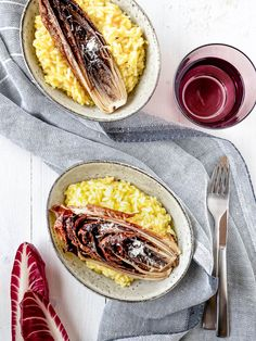 Safranrisotto mit Ofen-Radicchio Feta, Camembert Cheese, French Toast, Breakfast, Ethnic Recipes, Kraut, Blog, Cilantro Recipes