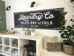 Vintage Inspired Chalkboard Laundry Sign