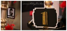 1920's table setting - table 1 - charlie chaplin. Brownsburg, Indiana Wedding photographer