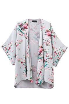 Goodnight Macaroon - Pastel Floral Kimono Jacket This looks like an awesome coverup that could be good for work or the weekend. Kimono Cardigan, Gilet Kimono, Kimono Coat, Kimono Floral, Floral Jacket, Mode Abaya, Mode Hijab, Boho Summer Outfits, Boho Outfits
