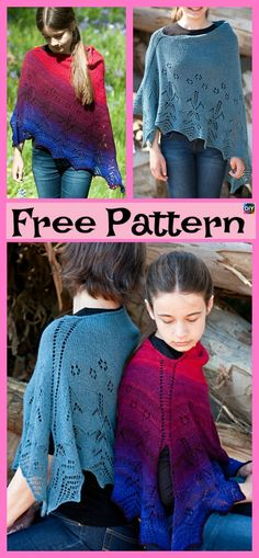 The project that we will be showing you today is this really beautiful knitting lace poncho! Owl Knitting Pattern, Knit Headband Pattern, Crochet Poncho Patterns, Loom Knitting, Knitting Designs, Knitting Patterns Free, Baby Knitting, Free Pattern, Knit Crochet