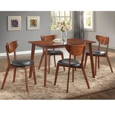 Shop for Sumner Mid-Century Style Walnut 5-Piece Dining Set. Get free delivery at Overstock.com - Your Online Furniture Shop! Get 5% in rewards with Club O!