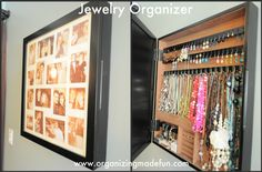 Collage frame with hidden jewelry storage -- love this idea Hidden Jewelry Storage, Jewellery Storage, Jewelry Box, Jewelry Holder, Jewelry Armoire, Photo Jewelry, Jewelry Displays, Necklace Holder, Jewelry Case