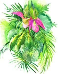Tropical Foilage, Hawaii art, original watercolor painting 15 X 11 in, Hawaii nature, tropics Jungle design, leaves, wall art, colorful