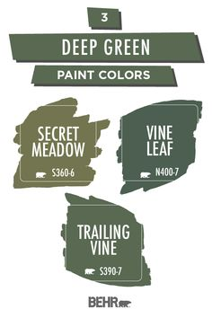 Ready to refresh your interior design style in the new year? Start with BEHR® Paint in Secret Meadow, Vine Leaf, or Trailing Vine. Create a sophisticated look with ease thanks to these bold and earthy hues. Click below to learn more.