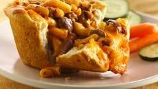 Quick and easy after school snack. Chili Mac Pasta Pies