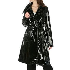 DKNY Black Faux Patent Leather Belted Slicker | Shop apparel,fall_fashion, fashion | Kaboodle