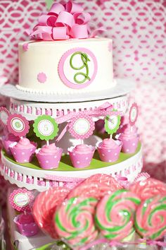 preppy pink and green cake