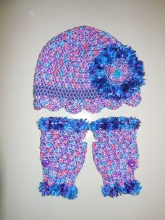 hat and fingerless gloves made for my little neighbor Alexis