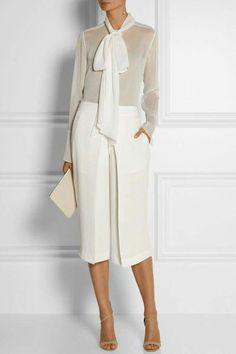 Joseph Billy Pleated Washed Silk Culottes in White - Lyst Office Fashion, Work Fashion, Fashion Design, Fashion Trends, Style Fashion, Fashion Poses, Fashion Editorials, High Fashion, Fashion Ideas