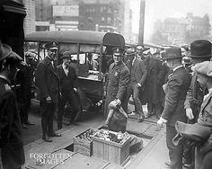 Prohibition-Sidewalk-Arrest-Bootlegger-Booty-On-Display-1920s-Photograph