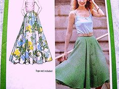 1970s Full Maxi Skirt Pattern Simplicity Misses size 14 Waist 28 in UNCUT Full Circle Skirt Long or Short by PatternsFromThePast