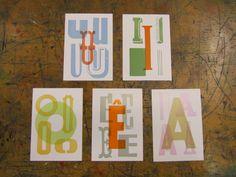 5 cards, A // E // U // I // O - 7,50 a set