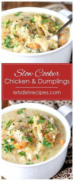 Slow Cooker Chicken and Dumplings Recipe -- Loaded with tender chunks of chicken, carrots and celery, this slow cooker version of chicken and dumplings is perfect for a chilly fall evening. #slowcooker #chicken #dumplings #recipes