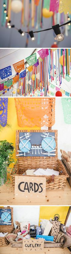 Mexican Fiesta Theme Wedding from http://festivalbrides.co.uk/ ~Afloral.com has high-quality faux flowers in bright colors, as well as hand-cut papel picada and paper lanterns for your diy fiesta!
