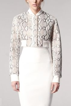 Reed Krakoff Cruise/resort 2014: Spencer jacket because it ends at the waist, there is a collar and the dress spills over at the collar, long fitted sleeves.