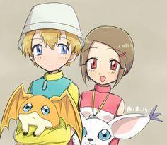T.K. & Kari <3 Digimon Seasons, Gatomon, Digimon Adventure 02, Fanart, Best Tv, Best Games, Otp, Anime Art, Pokemon