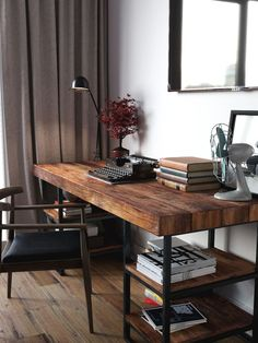 White Home Office Ideas To Make Your Life Easier; home office idea;Home Office Organization Tips; chic home office. Home Office Space, Home Office Design, Home Office Decor, Diy Home Decor, Office Designs, Workspace Design, Office Table, Wood Office Desk, Modern Wood Desk