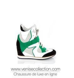 """BASKET COMPENSÉE VENISE COLLECTION """"MARTA""""  Basket Marta montante en cuir et daim multicolore sur un talon compensé de 8cm. Idéale pour un style à la fois sportif et élégant. Très tendance.  http://www.venisecollection.com/fr/chaussures-femme-luxe/basket-de-luxe/elena-iachi-basket-marta-chaussure-femme.html"""