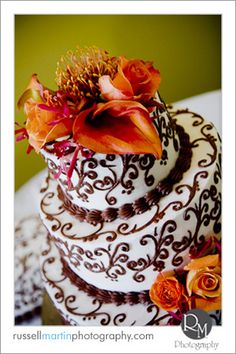 Flowers, Cake, Orange, Brown, Round, Russell martin photography