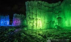 Ice Castles, New Hampshire is the Northeast's coolest attraction. Here is a look inside this frozen fortress with tips for your own ice castle visit. Travel Deals, Travel Usa, Ice Castles New Hampshire, Castle Project, Night Photos, Heaven On Earth, Pebble Art, Cool Places To Visit, New England
