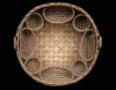 """Rare sewing basket, black ash splint, two carved side handles, eight attached interior star pattern baskets, four oval and four alternating round, cat's head molded bottom, 6"""" h, 14"""" dia."""