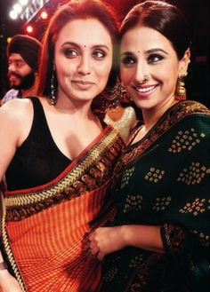 Rani Mukherjee in orange saree and Vidya Balan in green bandhini saree by Sabyasachi Mukherji