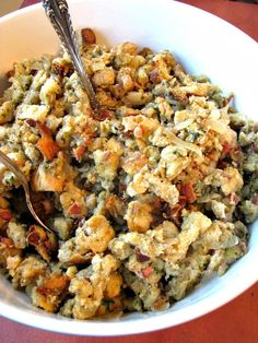 Slow Cooker stuffing loaded with bacon, sauteed onions, and sage. Save room in your oven by making your stuffing easily this Thanksgiving in your slow cooker.