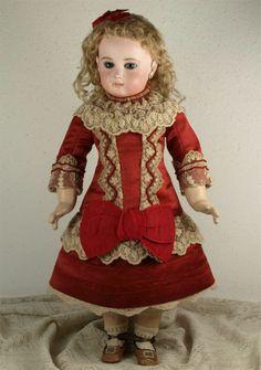 Marvelous Antique French Red Silk Satin BEBE Dress Jumeau Bru Steiner | eBay