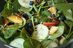 Spinach Berry Cucumber Salad