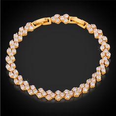 U7 Luxury Roman Bracelet Trendy Platinum/18K Real Gold Plated Clear AAA Zircon Jewelry 2 Sizes Chain Bracelets Wholesale