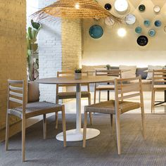 Lake is a stacking chair with beech board seat, upholstered or with woven cord seat that matches wood tone and solid beech wood backrest and frame. Stackable Chairs, Hospitality, Contemporary Design, Dining Table, Woodworking, Restaurant, Spaces, Frame, Projects